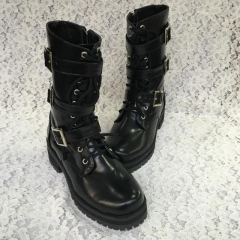 Antaina Black Low Heel Lolita Boots with Belt Metal Buckles