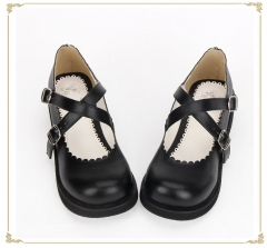 Black Straps Simple Style Lolita Shoes